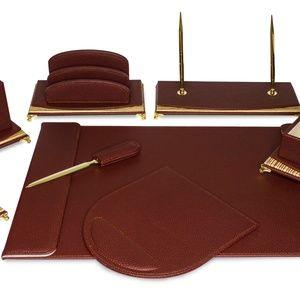 8 Pcs Burgundy Leather Executive Desk Set